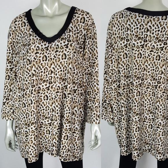 Serenada Tops - Serenada Womens Leopard Popover Top Plus Size 4X 14f90b3a7